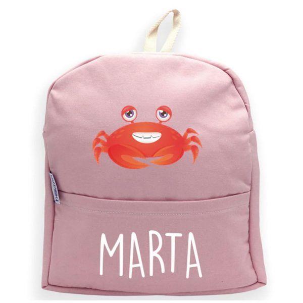 mochila personalizada rosa cangrejo