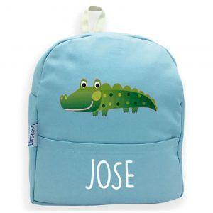 mochila personalizada azul cocodrilo