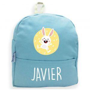 mochila personalizada azul conejo
