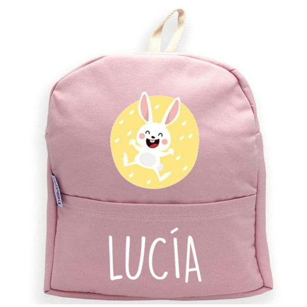 mochila rosa personalizada conejo