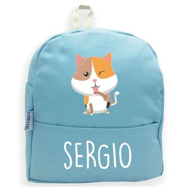 mochila azul personalizada gato