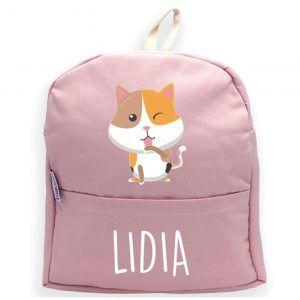 mochila rosa personalizada con gato