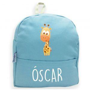 mochila personalizada azul jirafa