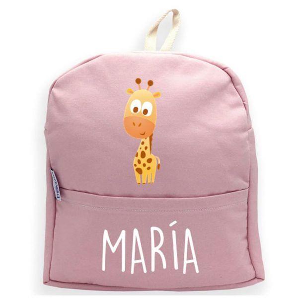 mochila personalizada rosa jirafa