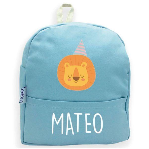 mochila personalizada azul leon