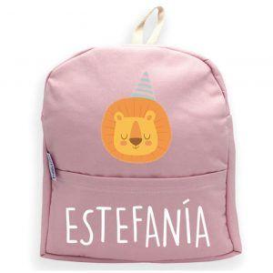 mochila personalizada rosa leon