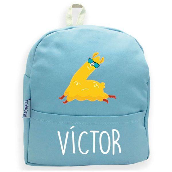 mochila personalizada azul llama
