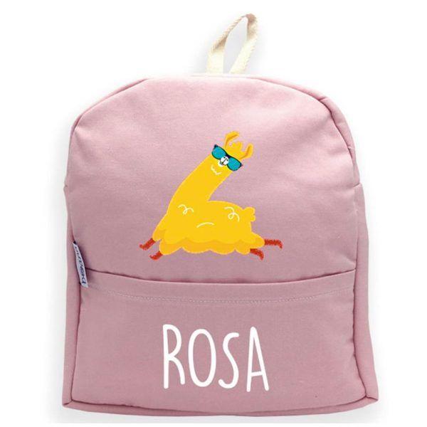mochila rosa personalizada Llama
