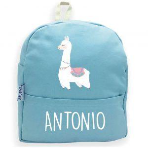 mochila azul personalizada llama blanca