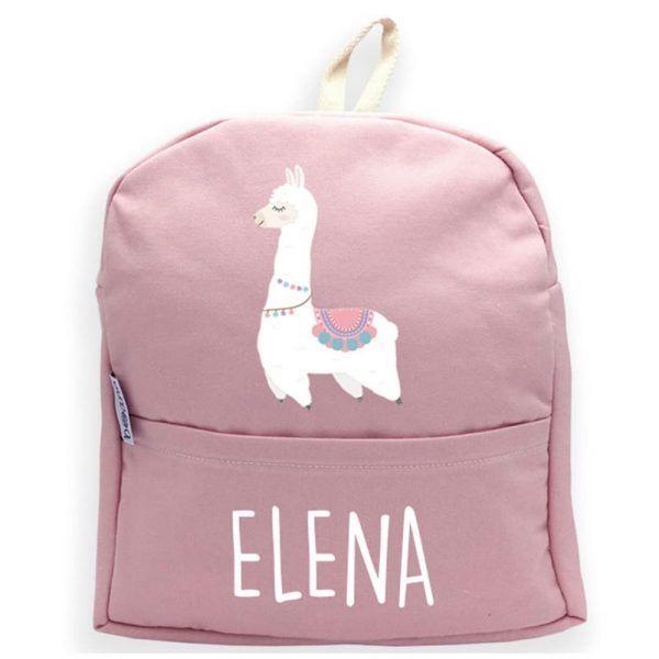 mochila personalizada rosa con llama blanca