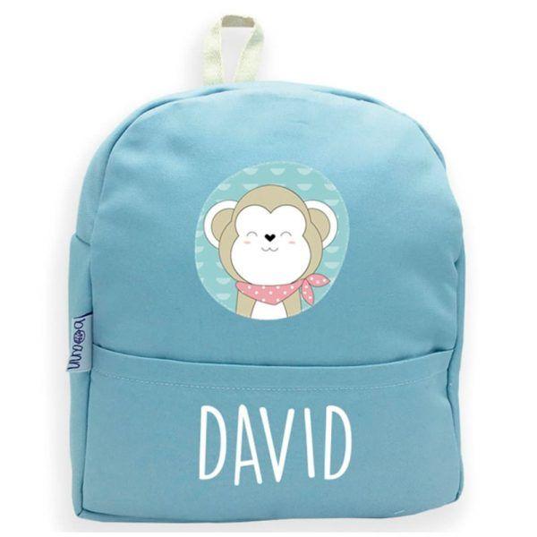 mochila personalizada azul mono