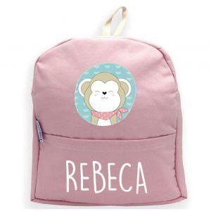 mochila personalizada rosa mono