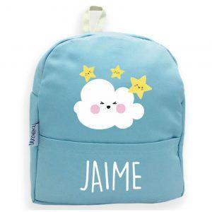 mochila azul personalizada nubes