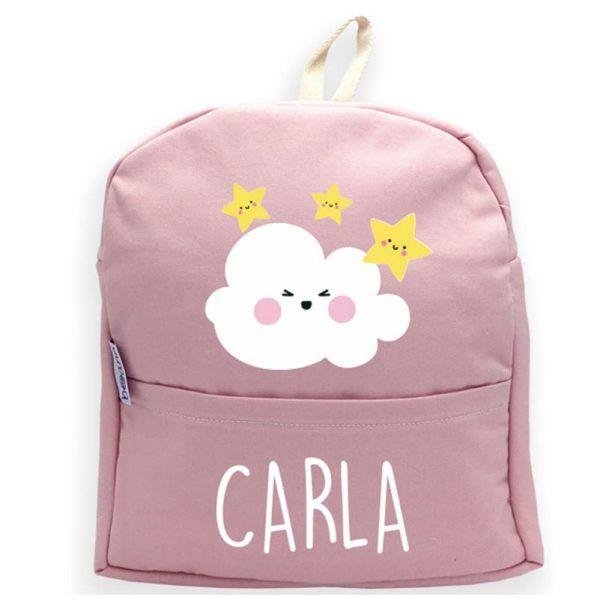 mochila personalizada rosa nubes