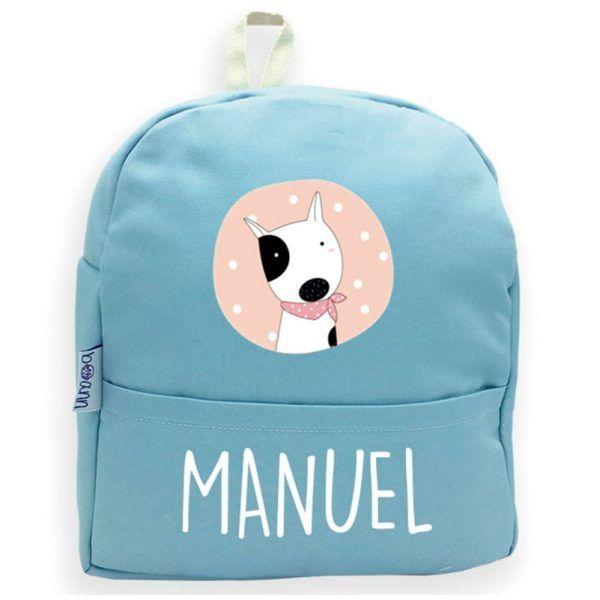 mochila personalizada azul perro