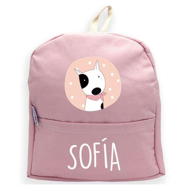 mochila personalizada rosa con nombre y perro