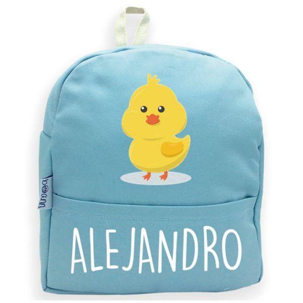 mochila personalizada con nombre azul con pollo