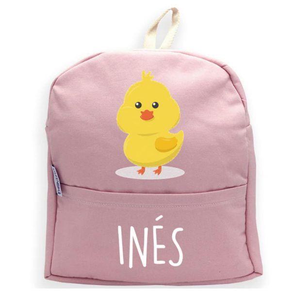 mochila rosa personalizada con nombre pollo