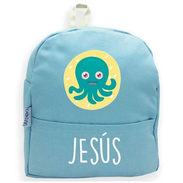 mochila personalizada azul con nombre y pulpo