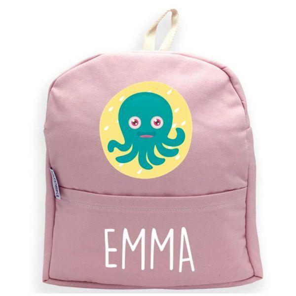 mochila personalizada rosa con nombre y pulpo