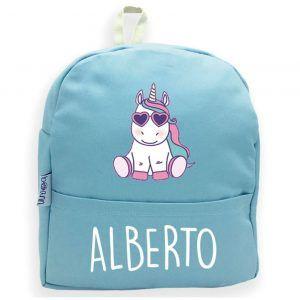 mochila azul personalizada con nombre y unicornio