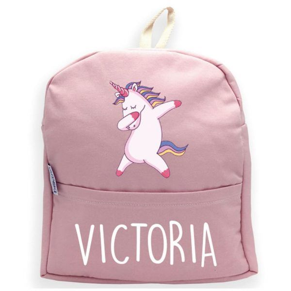 Mochila personalizada rosa con nombre y unicornio