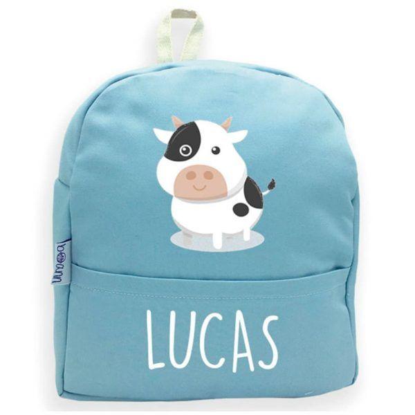 Mochila personalizada con nombre y vaca en azul