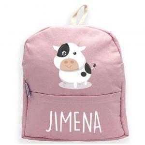 Mochila personalizada con nombre y vaca en rosa