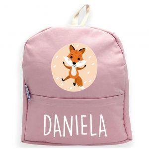 Mochila personalizada con nombre y un zorro en rosa